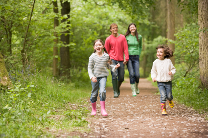 family in the woods at Boothman Park